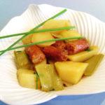 Patatas con chistorra y tirabeques